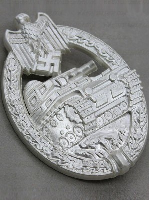 Replica of Panzer Assault Badge (Panzerkampfabzeichen) in Silver (WWII German Badges) for Sale (by ww2onlineshop.com)