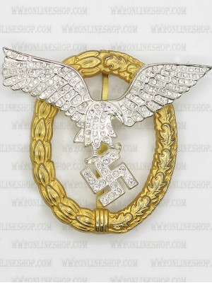 Replica of Pilot/Observer Badge in Gold with Diamonds (WWII German Badges) for Sale (by ww2onlineshop.com)