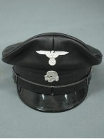 Allgemeine-SS Officer Black Visor Cap (fake leather)