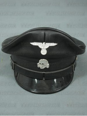 Replica of Allgemeine-SS Officer Black Visor Cap (fake leather) (Caps) for Sale (by ww2onlineshop.com)