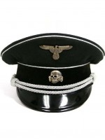 German WWII SS Officer Black Visor Cap