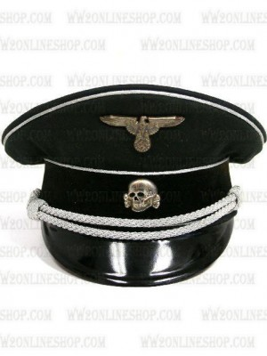Replica of German WWII SS Officer Black Visor Cap (Caps) for Sale (by ww2onlineshop.com)