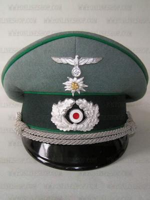 Replica of Heer offizier gebirgsjäger schirmmütze (Officers Visor Cap) (Caps) for Sale (by ww2onlineshop.com)