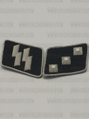 Replica of SS 2nd Lieutenant (SS-Unterstrumfuhrer) Collar Tabs (German Collar Tabs) for Sale (by ww2onlineshop.com)