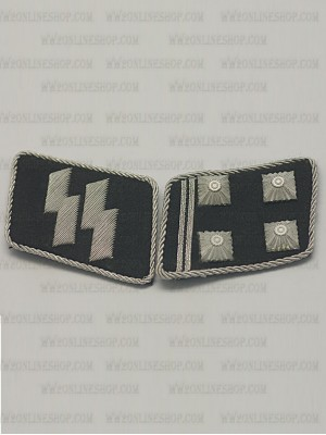 Replica of SS Lt-Col.(SS Obersturmbannfuhrer) Collar Tabs (German Collar Tabs) for Sale (by ww2onlineshop.com)
