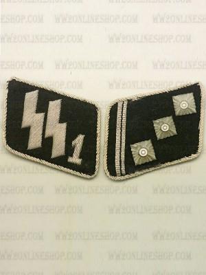Replica of SSVT 1st Lieutenant (SS-Oberstrumfuhrer) Collar Tabs (German Collar Tabs) for Sale (by ww2onlineshop.com)