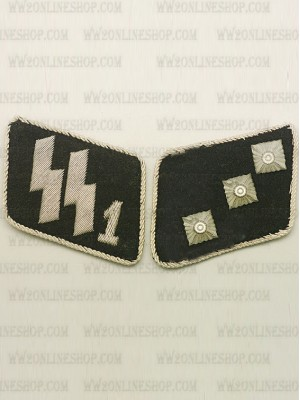 Replica of SSVT 2nd Lieutenant (SS-Unterstrumfuhrer) Collar Tabs (German Collar Tabs) for Sale (by ww2onlineshop.com)