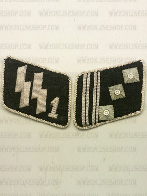 Replica of SSVT Captain(SS-Hauptstrumfuhrer) Collar Tabs (German Collar Tabs) for Sale (by ww2onlineshop.com)