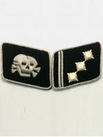 Waffen SS Skull 1st Lieutenant (SS-Oberstrumfuhrer) Collar Tabs