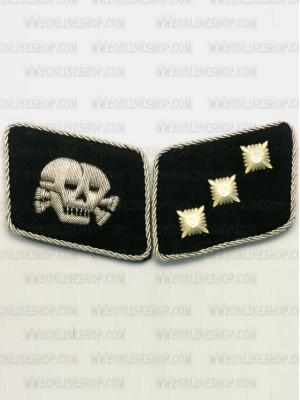 Replica of Waffen SS Skull Lieutenant (SS-Unterstrumfuhrer) Collar Tabs (German Collar Tabs) for Sale (by ww2onlineshop.com)