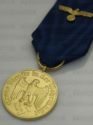 Replica of German WWII Heer 12 Years Service Medal With Ribbon & Heer Eagle Device (WWII German Medals) for Sale (by ww2onlineshop.com)