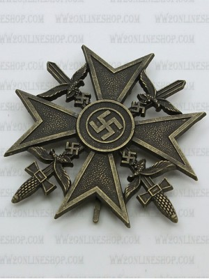 Replica of German WWII Spanish Cross in Bronze with Swords (WWII German Medals) for Sale (by ww2onlineshop.com)