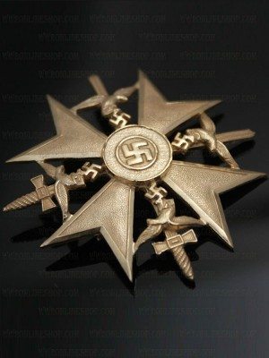 Replica of German WWII Spanish Cross in Gold with Swords (WWII German Medals) for Sale (by ww2onlineshop.com)