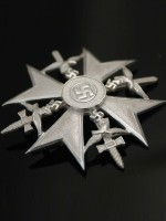 German WWII Spanish Cross in Silver with Swords