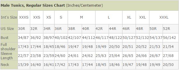 Male Tunics, Regular Sizes Chart (Inches/Centemeter)