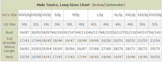 Male Tunics, Long Sizes Chart  (Inches/Centemeter)