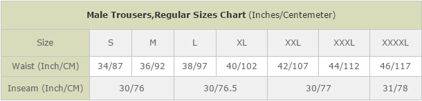 Male Trousers,Regular Sizes Chart (Inches/Centemeter)